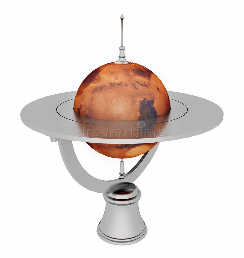 Lijstbol met Mars op witte achtergrond wordt geïsoleerd die vector illustratie