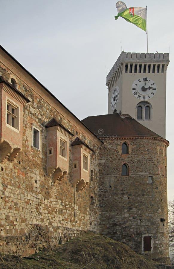 Lijubljana kasztel w kapitale Slovenia fotografia stock