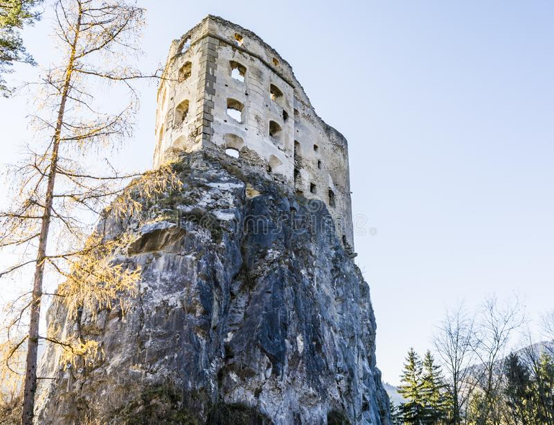 Likava Royal Castle - destroyed walls of the fortress on the rock royalty free stock image