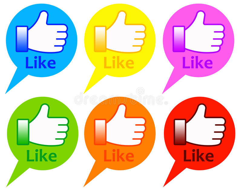 Like. Colorful text balloons with Like buttons, similar as those used on Facebook