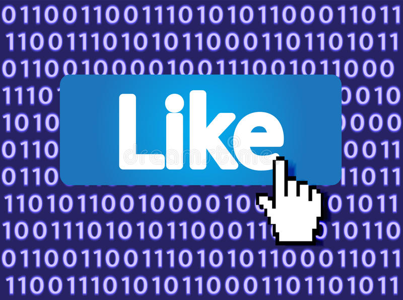 Like Button. With Hand Cursor. Vector Illustration royalty free illustration