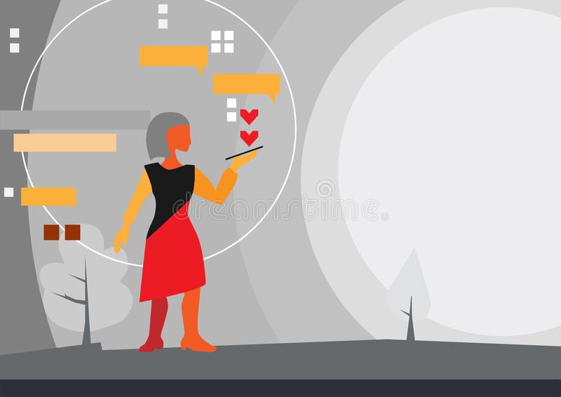 Like, chat and subscribe to social networks, concept. woman uses a smartphone for communication. Abstract composition in the style of avant-garde or abstract vector illustration