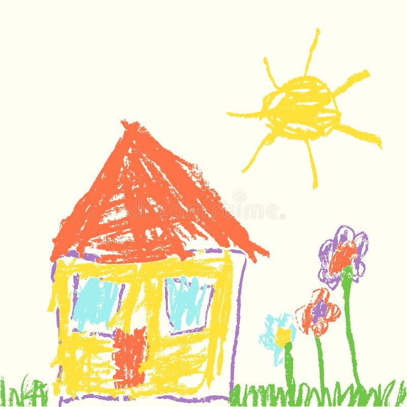 Like child`s hand drawn house. Wax crayon drawing grass, colorful flowers and sun. vector illustration