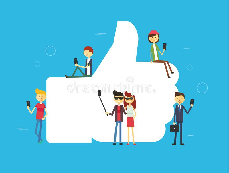 Like concept illustration of young people using mobile tablet and smartphone. For sending posts and sharing them in social media. Flat vector hashtag big symbol stock illustration
