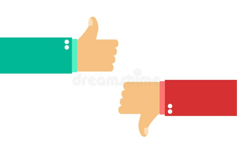 Like and dislike. Class and bad. Vector illustration royalty free illustration