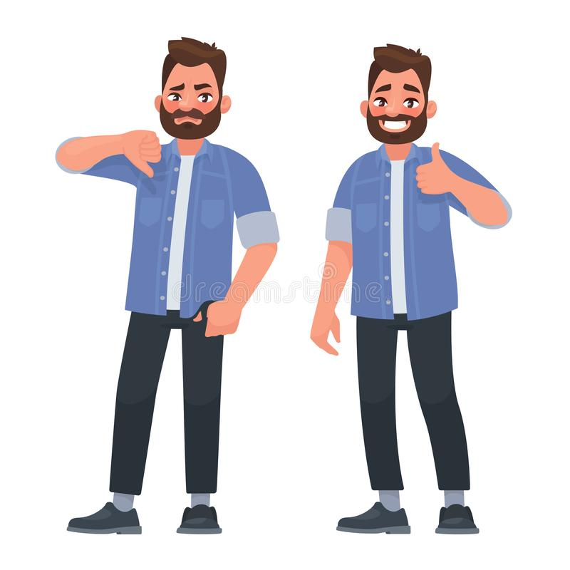 Like and dislike. Good and bad. A man shows a gesture of approval and disapproval stock illustration