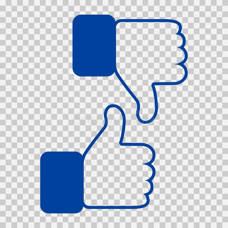 Like and Dislike Icon. Thumbs Up and Thumb Down, Hand or Finger Illustration on Transparent Background. Symbol of royalty free illustration