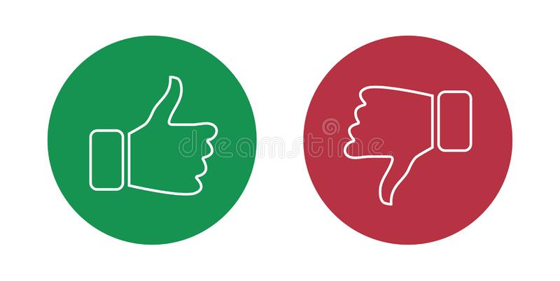 Like and dislike icons set. Thumbs up and thumbs down. Vector illustration. vector illustration