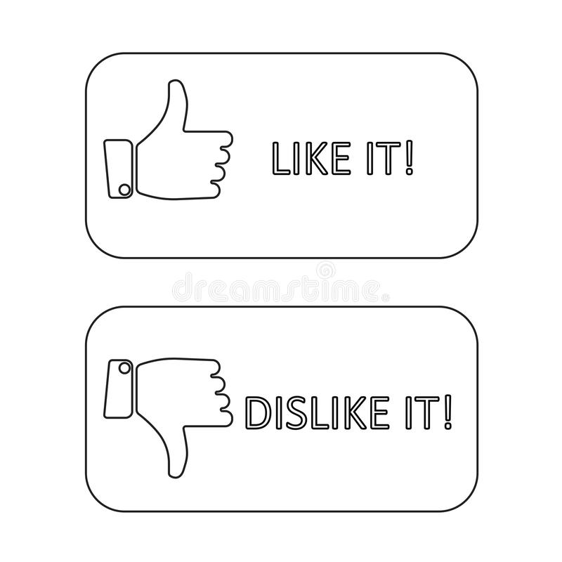 Like It And Dislike Symbol Line Style Button Isolated Editorial