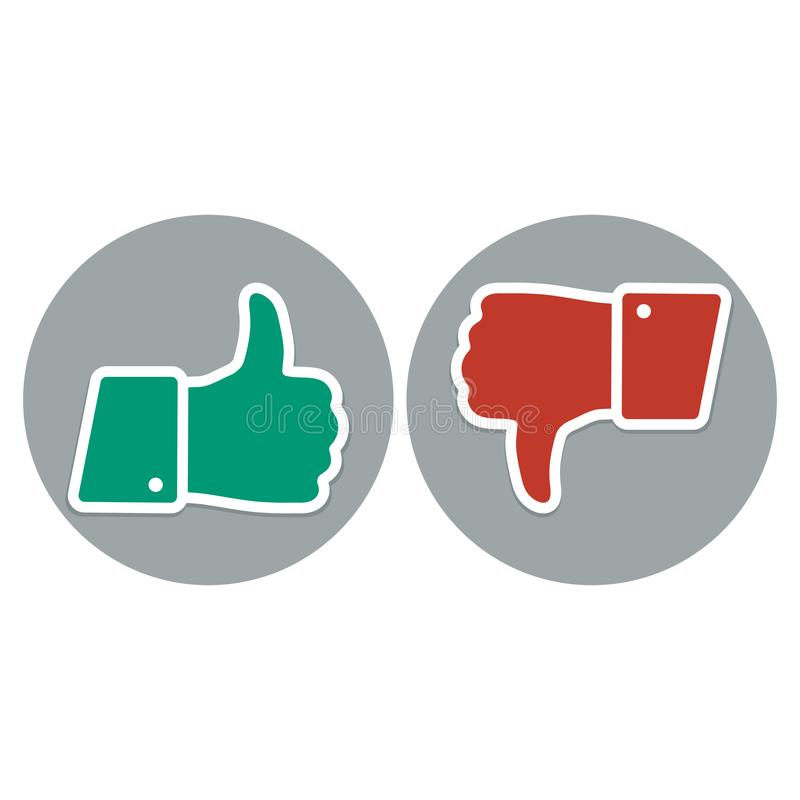 Like and dislike symbol. Thumb up and down red and green icons stock illustration