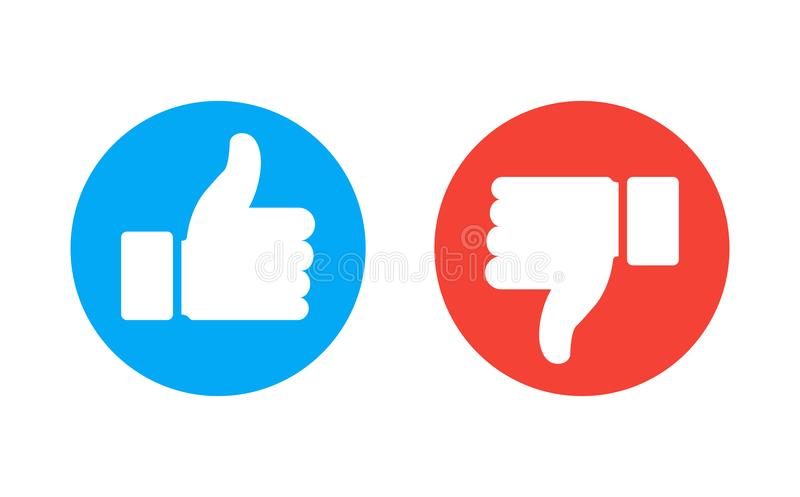 Thumb up and down red and green icons. Vector illustration. I like and dislike round buttons in flat design. royalty free illustration