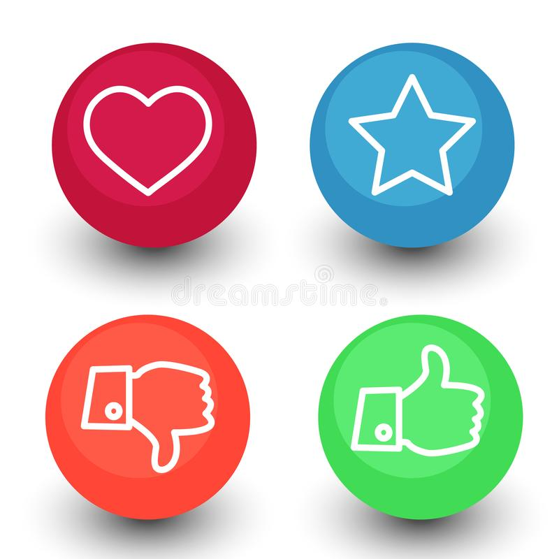 Like, dislike, voting and rating, vector icon set, hand with th stock illustration