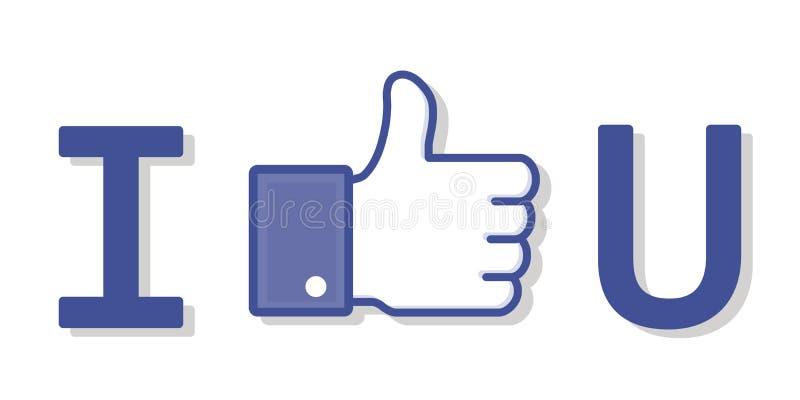 Like Facebook. Vector of I like U Facebook Concept