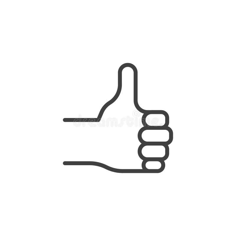 Like, hand gesture line icon vector illustration