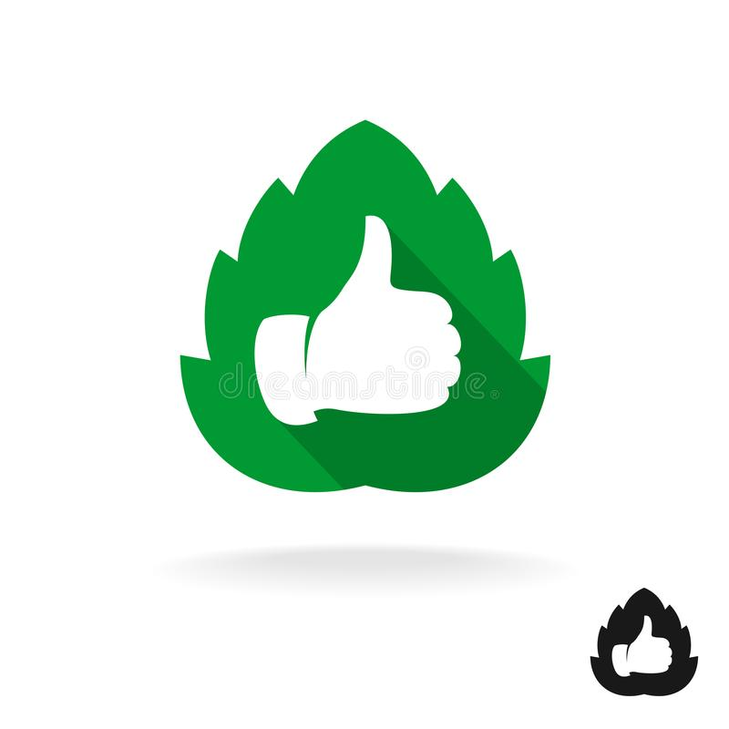 Like hand with green leaf logo stock illustration
