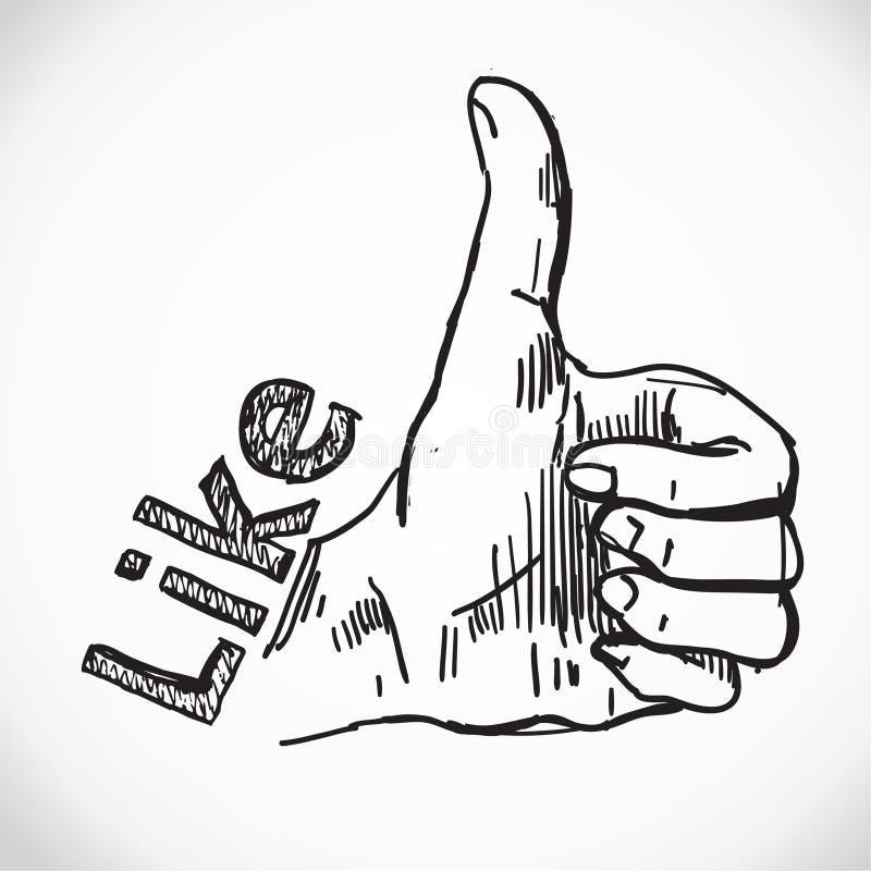 Like hand. Social media. Retro background. Like hand. Social Like hand. Social media. Retro background. Vintage background. Business background. Hand drawnmedia royalty free illustration