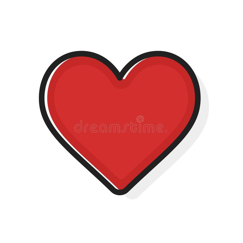 Like and Heart icon. Flat outline style. Live stream video, chat, likes. Social nets like red heart web buttons isolated royalty free illustration