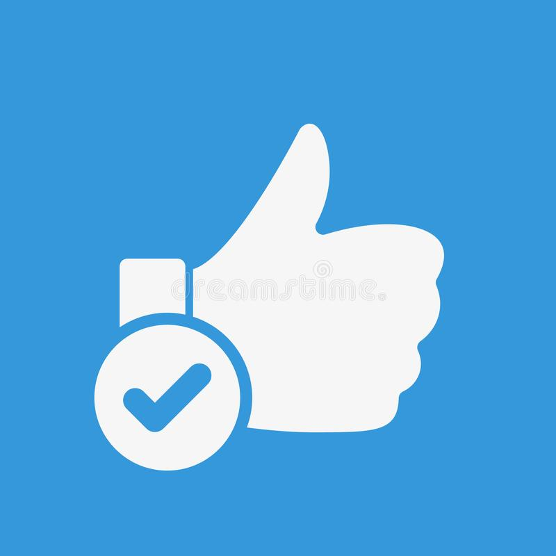 Like icon, gestures icon with check sign. Like icon and approved, confirm, done, tick, completed symbol. Vector illustration vector illustration