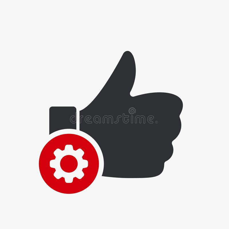 Like icon, gestures icon with settings sign. Like icon and customize, setup, manage, process symbol. Vector illustration stock illustration