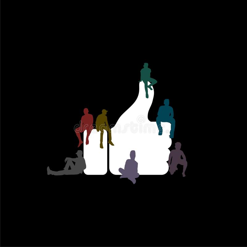Like icon or logo, Flat design of guys and women`s on dark background. White Like icon or logo, Flat design of guys and women`s on dark background royalty free illustration