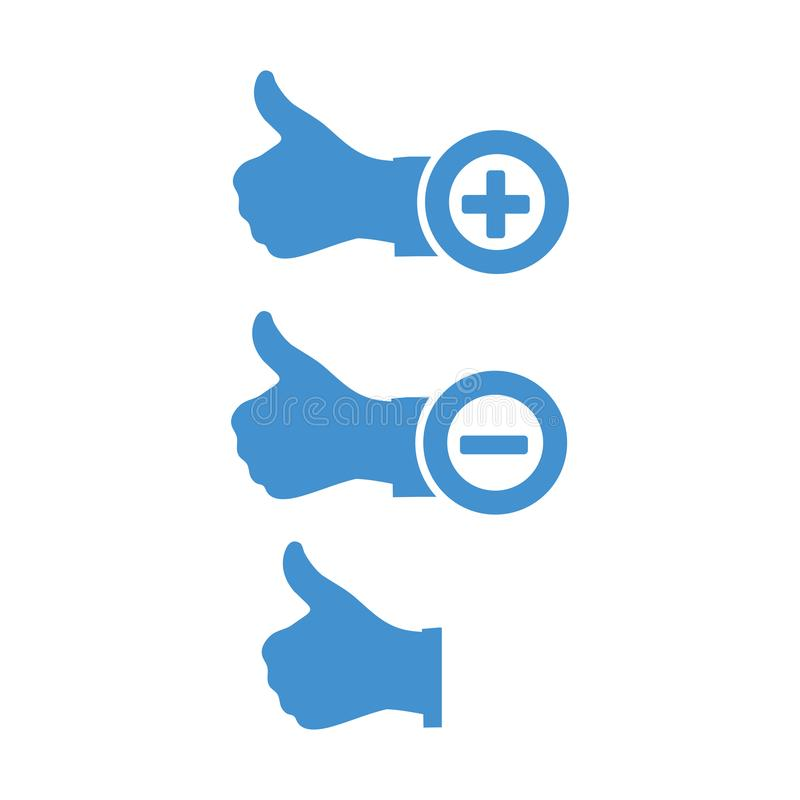 Like icon with Plus and minus sign. Hand thumb up. stock illustration royalty free illustration