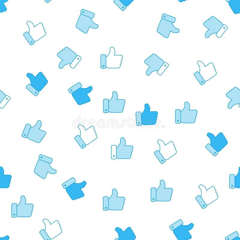 Like icon seamless pattern background. Business flat vector illustration. Thumb up sign symbol pattern. royalty free illustration