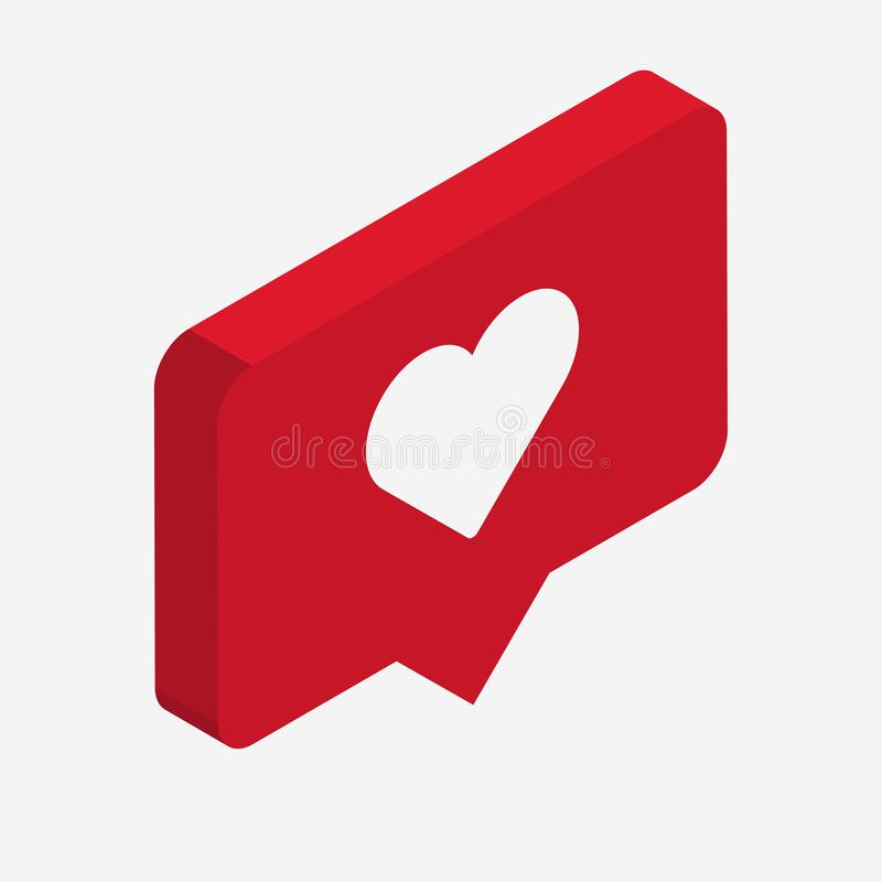Like isometric Icon. 3d design with heart. Vector stock illustration