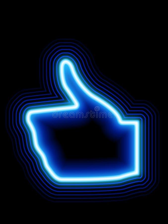 Like blue neon thumbs up stock photos