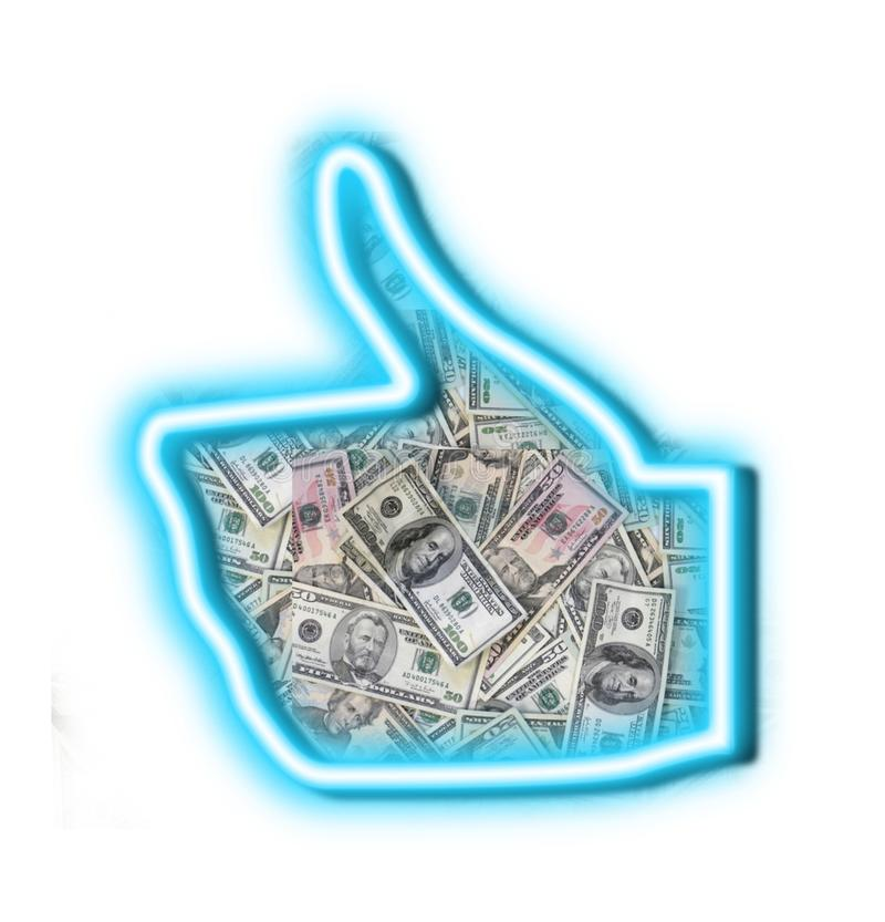 Like of money thumbs up stock images