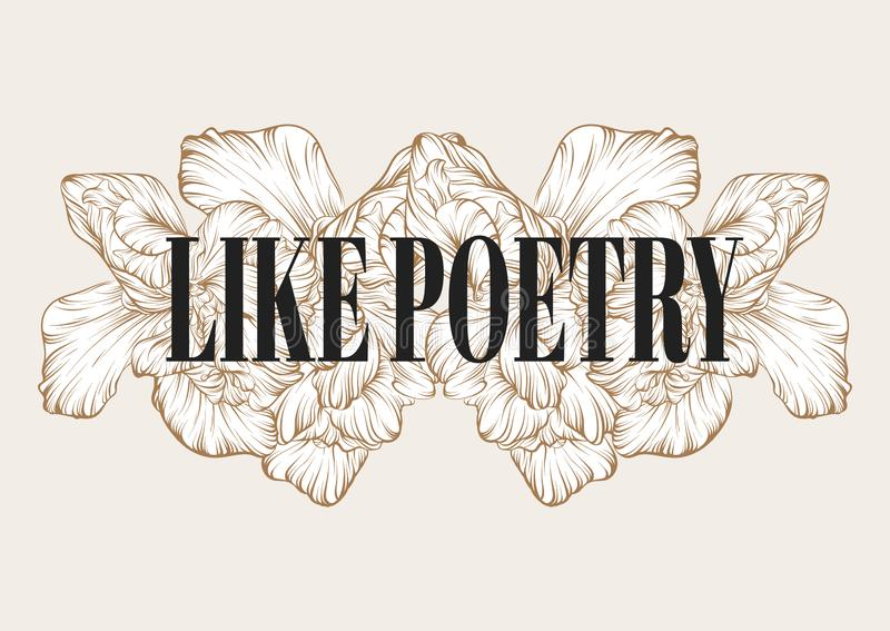 Like poetry. Vector hand drawn illustration of flowers isolated vector illustration