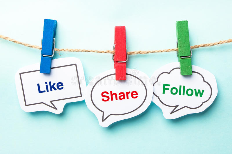 Like share follow. Bubble with clip hanging on the line with blue background
