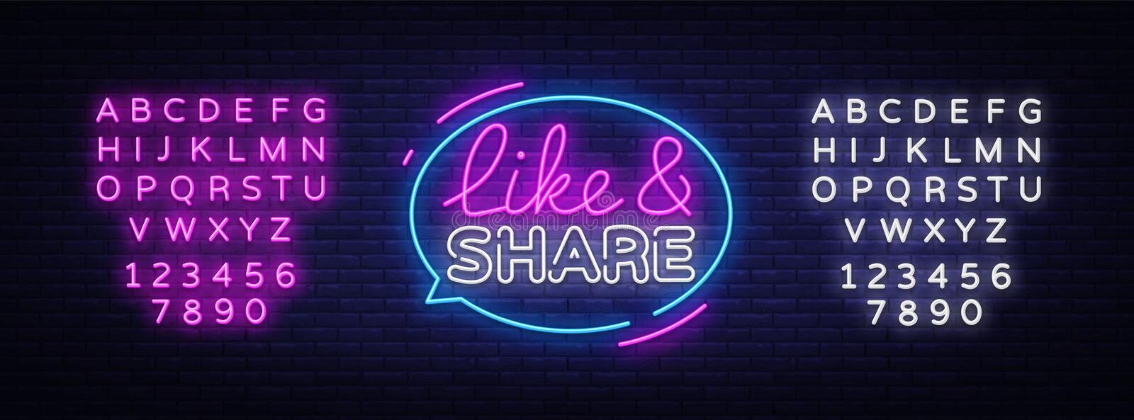 Like Share neon sign vector design template. Social networks neon text, light banner design element colorful modern royalty free illustration