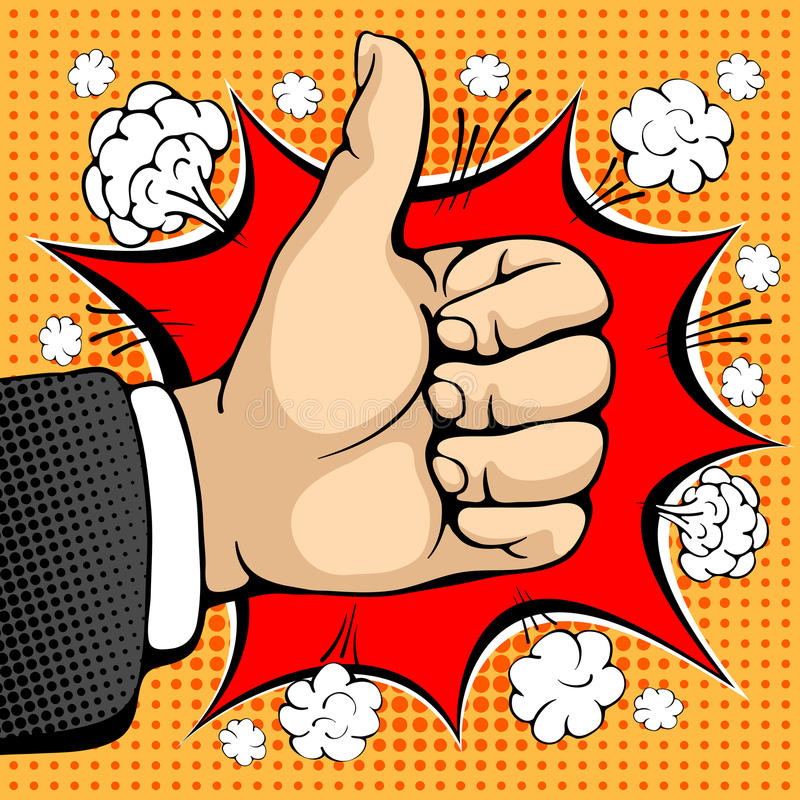 Like sign. Male hand shows like sign. Like concept sign. I like that. Seal of approval. Pop art design concepts for web banners, web sites, printed materials vector illustration