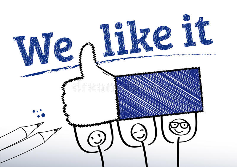 We like it, Stick figures. Symbolic picture, smily thumbs-up, Stick figures royalty free illustration