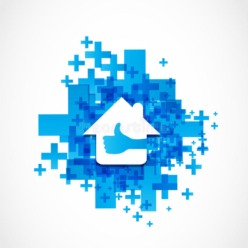 Like thumb up real estate concept. Abstract background royalty free illustration