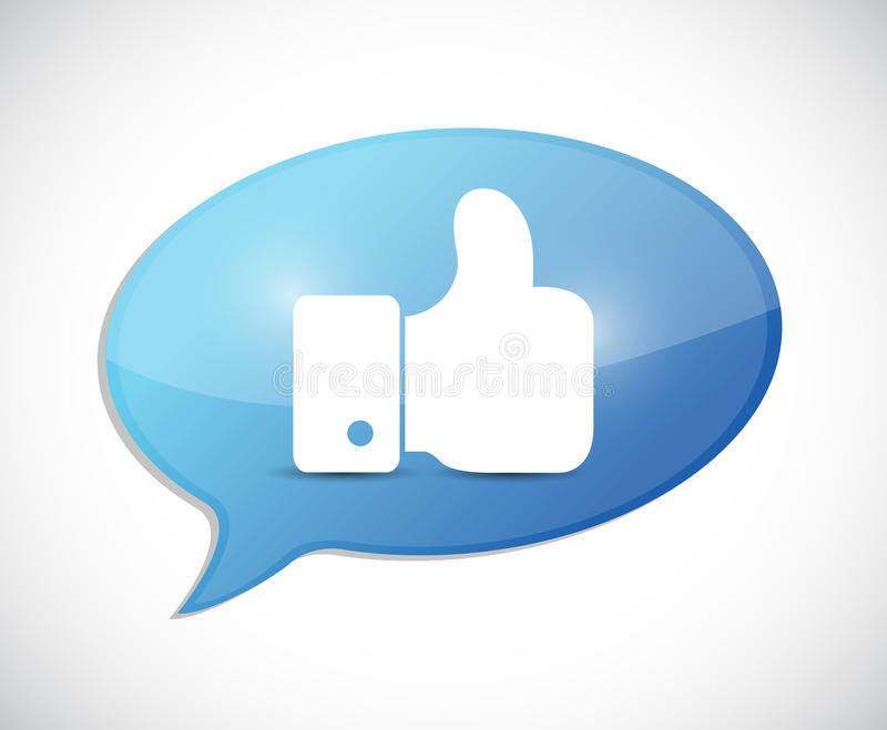 Like thumbs up illustration message. Over a white background stock illustration