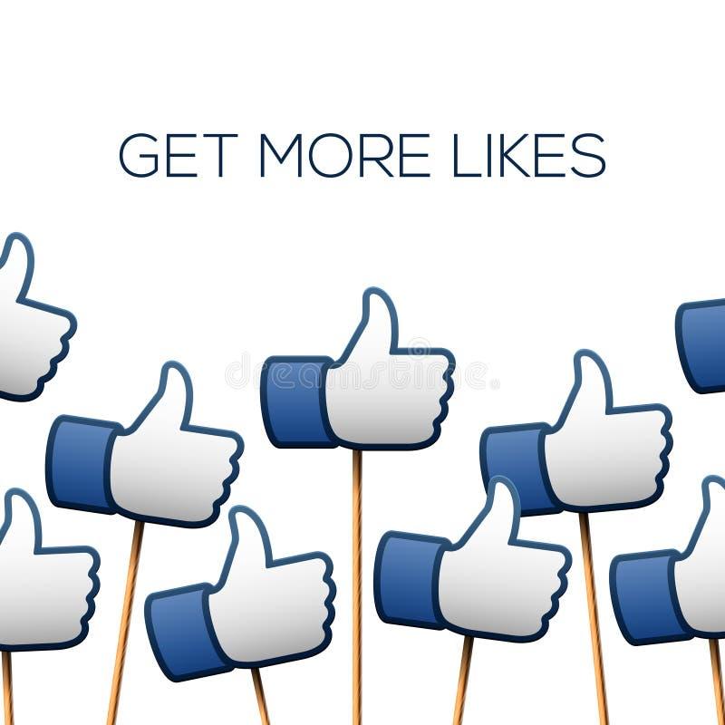 Like thumbs up symbols. Get more likes stock illustration