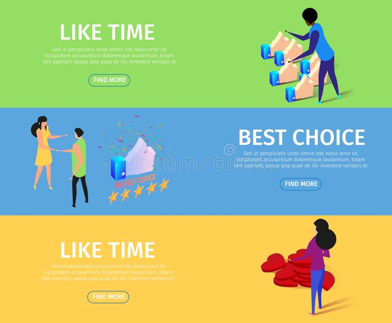 Like Time and Best Choice Horizontal Banner Set stock illustration