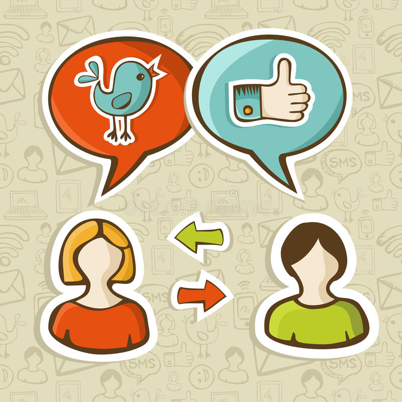 Like and twitter icons connecting people. Social media networks twitter and facebook like icons in speech bubble connecting people. Vector illustration layered