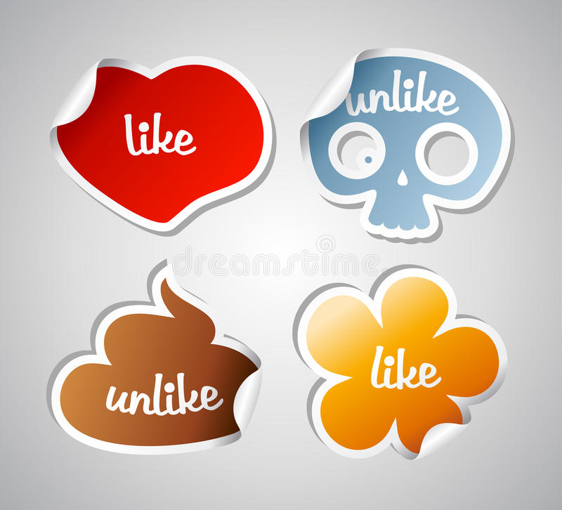 Download Like and unlike stikers. stock vector. Image of heart - 27054256
