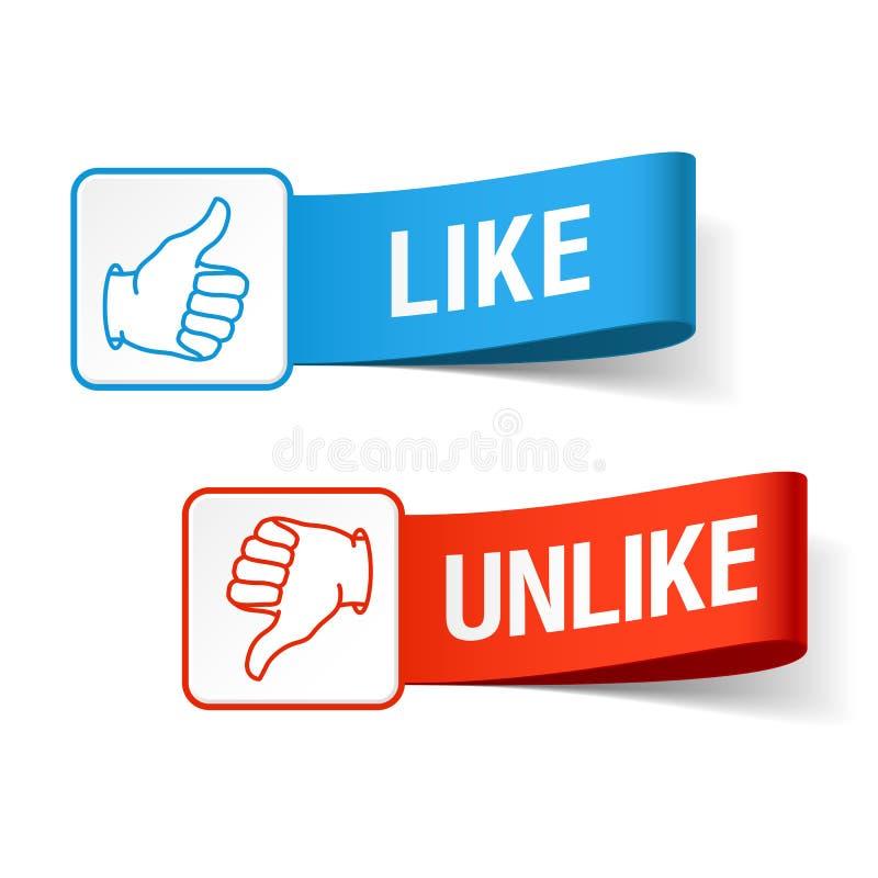 Like and unlike symbols royalty free illustration