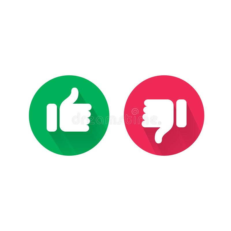 Like and unlike thumb up and down vector icons stock illustration