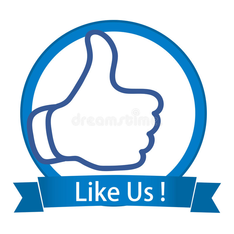 Like us. An illustration of facebook thumb with like us banner