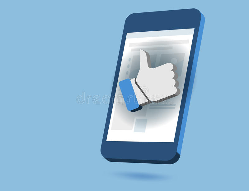 Like us social network scene. On smartphone vector concepts on a blue background stock illustration