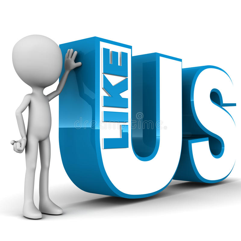 Like us. On social networking websites concept, little 3d man standing by text on white background royalty free illustration