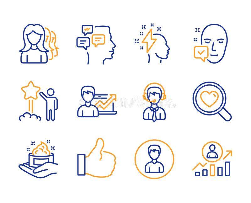 Like, Women headhunting and Success business icons set. Search love, Star and Person signs. Vector. Like, Women headhunting and Success business icons simple set royalty free illustration