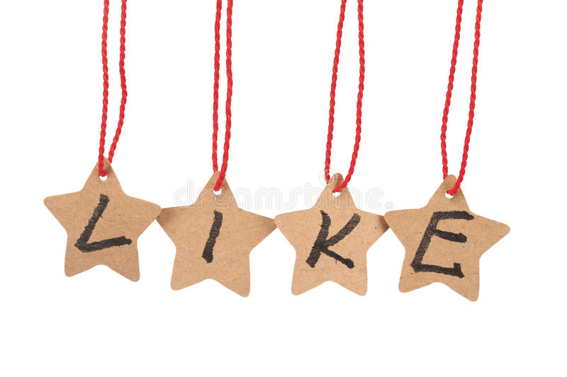 Like word on paper stars stock photos