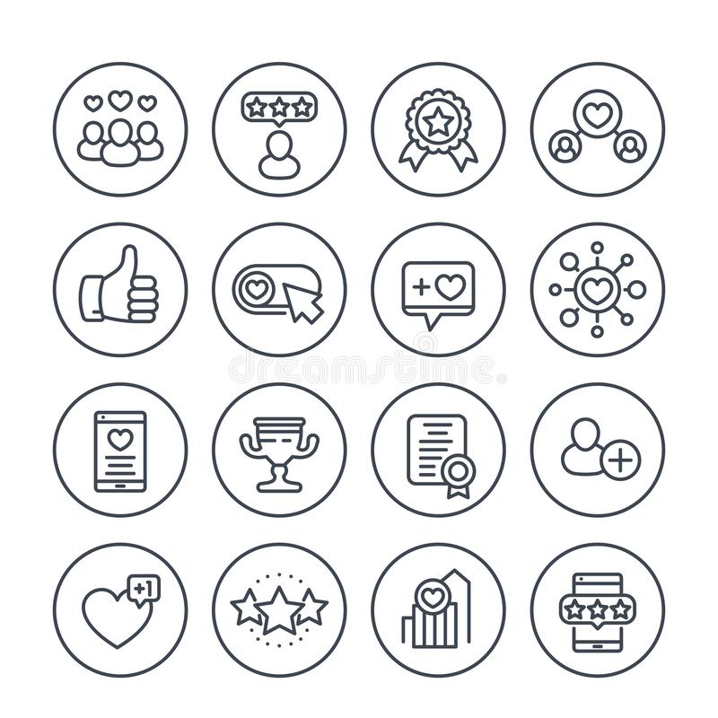 Likes, followers, hearts, rating line icons. Likes, followers, hearts, rating, feedback line icons set on white vector illustration