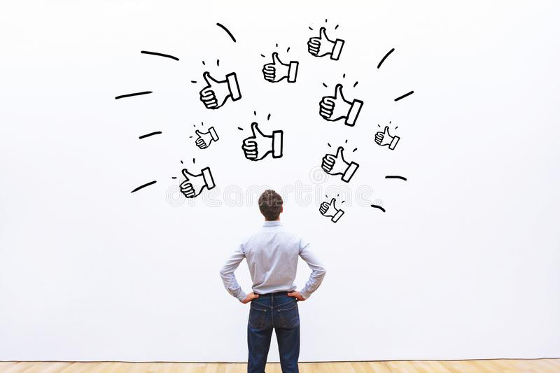 Likes on social networks, positive customer feedback stock photos
