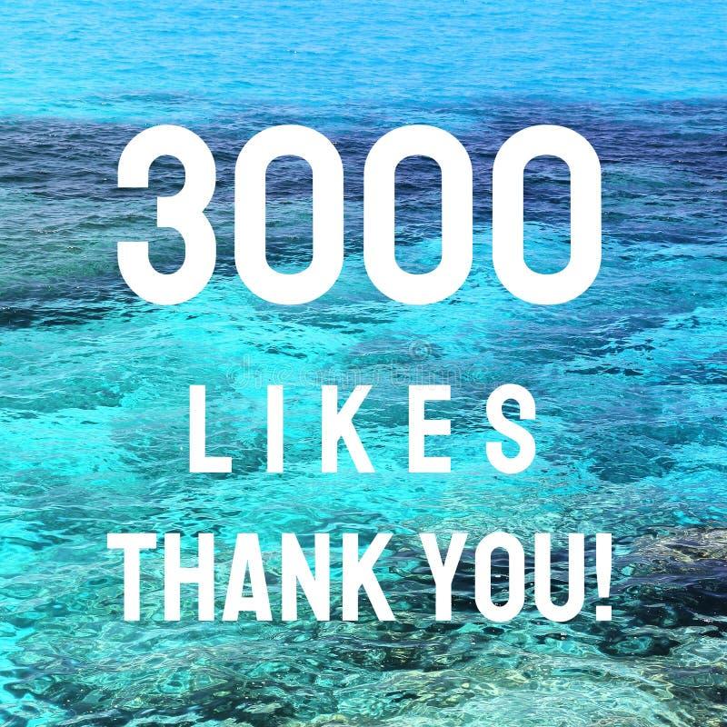 3000 likes. Thank you sign. Social media milestone stock photos